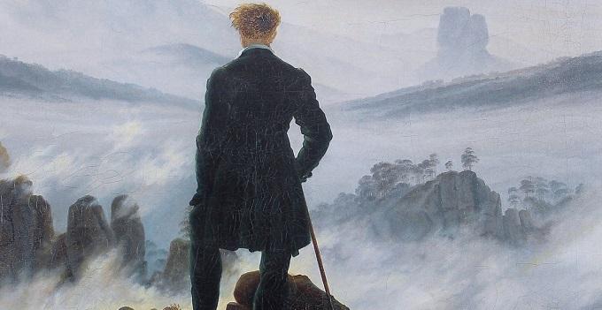 Risultati immagini per vecchio con bastone fra la nebbia
